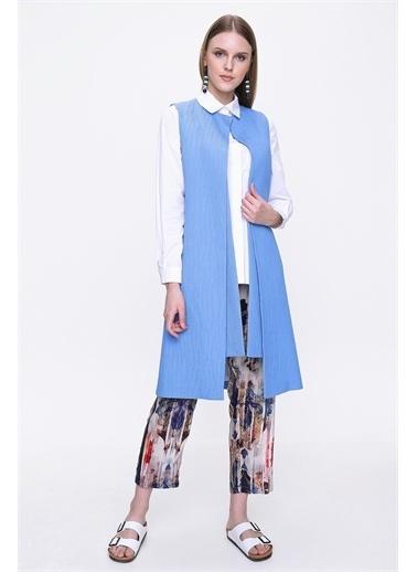 Aker Uzun Kol Kadın Yelek Mavi